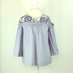 BCBG Peasant Blue & White Open Sleeve Top Size S